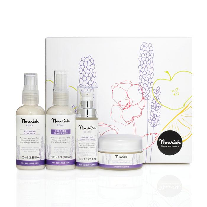 Nourish Подарочный набор для ухода за лицом Relax, для чувствительной кожи: молочко, очищающее, тоник-мист, увлажняющий, крем для лица, увлажняющий, сыворотка для лица, питательная