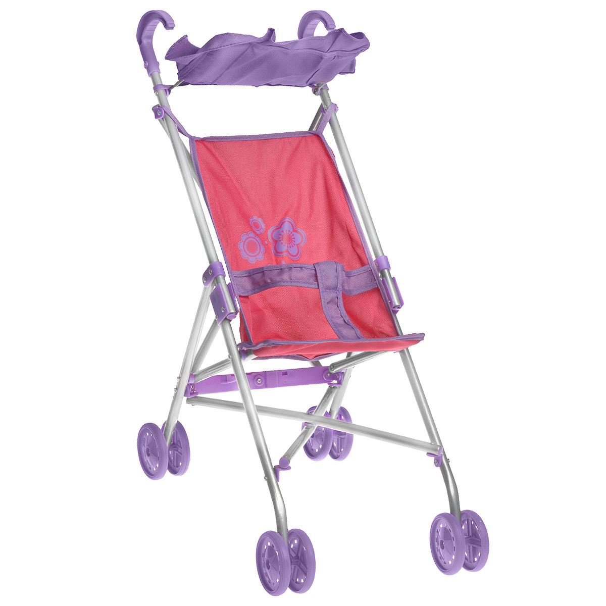 Mary Poppins Коляска-трость для кукол Цветок цвет сиреневый розовый67123Легкая складная коляска-трость для кукол Mary Poppins Цветок очень компактна, удобна в эксплуатации и комфортабельна. Каркас коляски выполнен из облегченного металла, элементы из ткани легко снимаются для стирки. На сиденье имеются специальные ремни, чтобы кукла не упала. Прогулочная коляска оснащена козырьком, двумя удобными ручками и поворотными маневренными колесами. Коляска-трость легко складывается, в сложенном виде занимает мало места, поэтому ее удобно хранить. Играть с коляской можно как в помещении, так и на улице, что несомненно порадует вашу малышку, ведь теперь свою любимую куклу она сможет брать с собой на прогулки! Игрушка предназначена для сюжетно-ролевых игр, способствующих развитию фантазии, формированию эмоциональной отзывчивости и социализации ребенка.