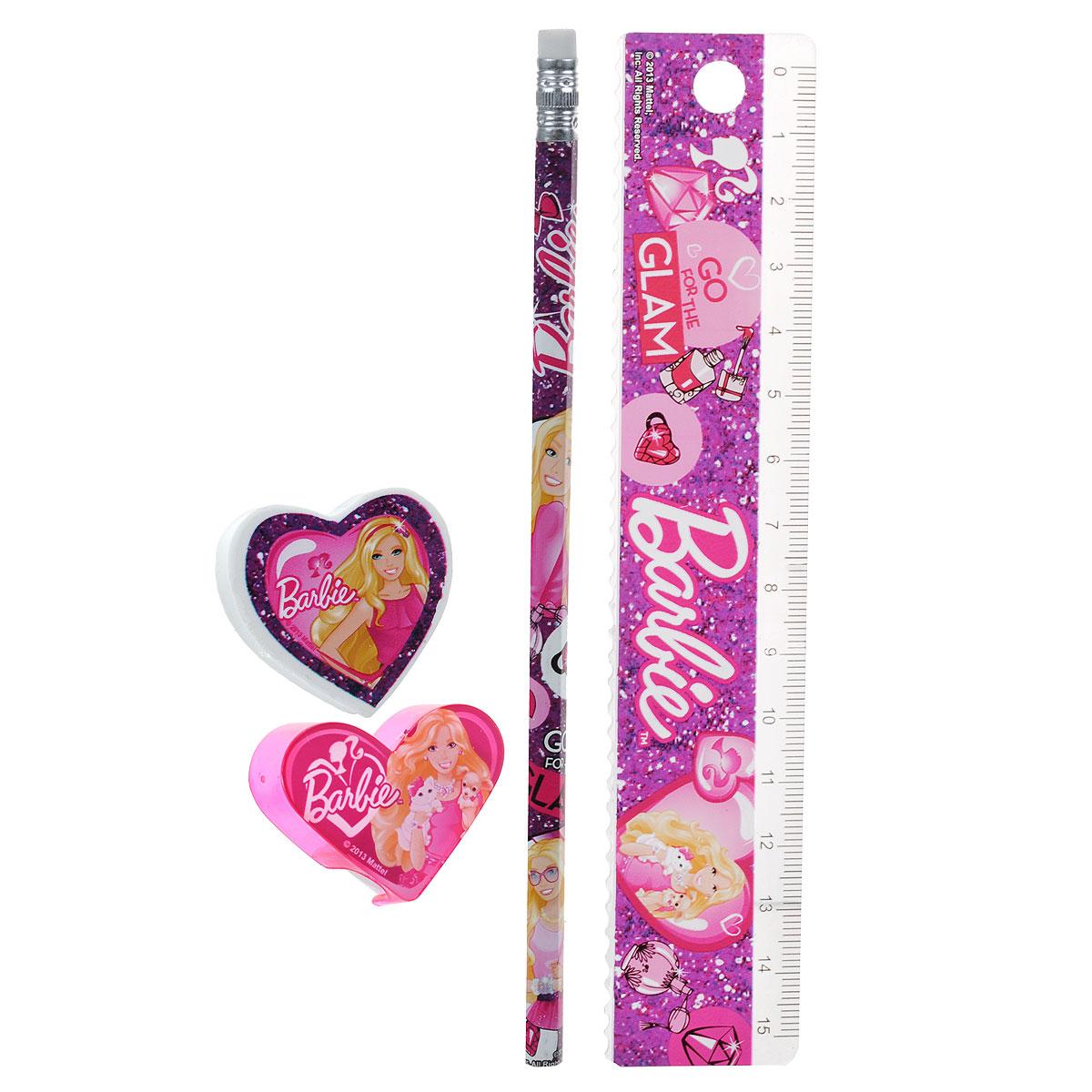 Канцелярский набор Barbie, 4 предметаBRBB-US1-5020-HКанцелярский набор Barbie станет незаменимым атрибутом в учебе маленькой школьницы. Он включает в себя незаточенный чернографитный карандаш с ластиком на конце, ластик, точилку в форме сердечка и пластиковую линейку 15 см. Все предметы набора оформлены изображениями прекрасной Барби. Не рекомендуется детям до 3-х лет