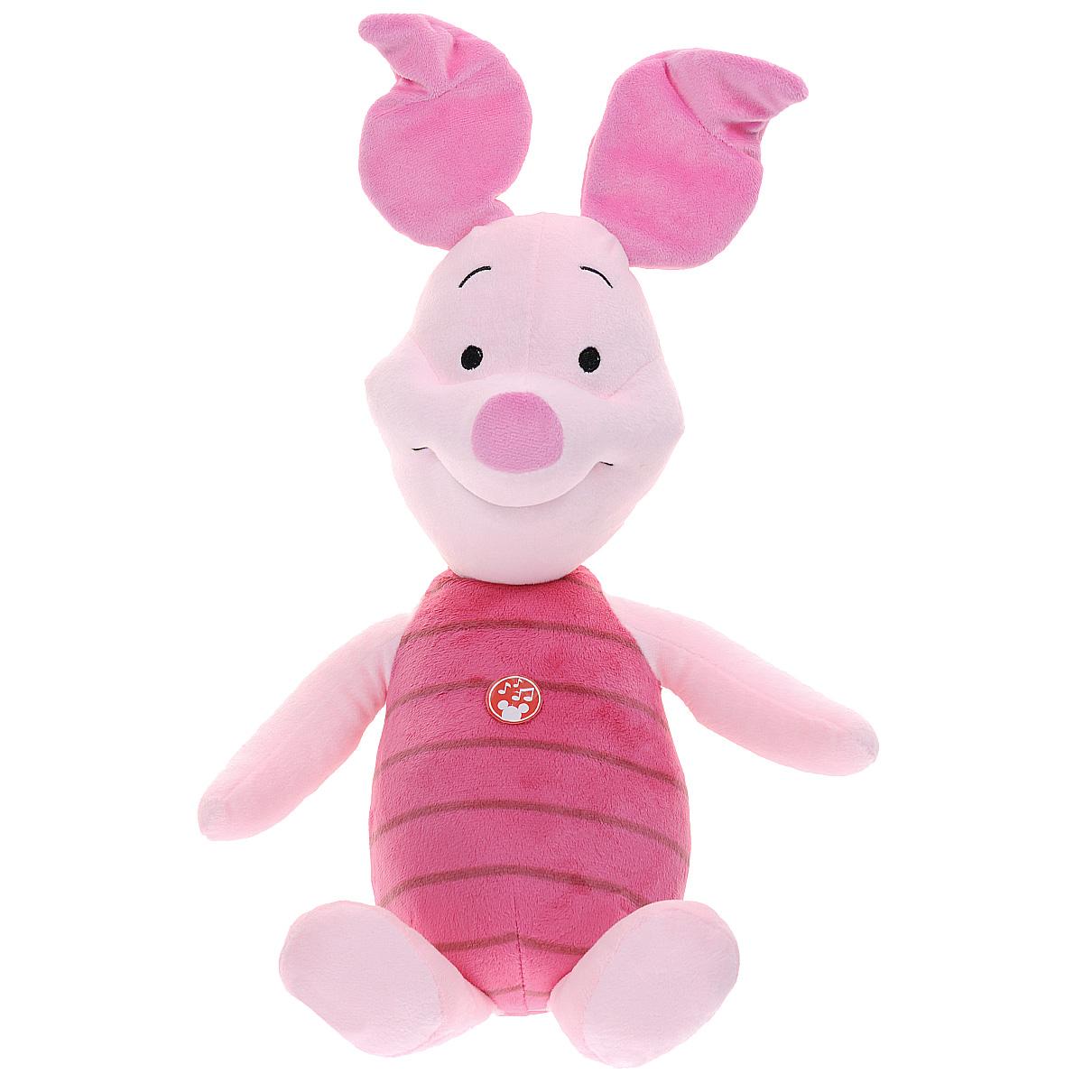 Мягкая озвученная игрушка Disney Хрюник, 55 смVHR1\MМягкая музыкальная игрушка Disney Хрюник станет любимой игрушкой вашего ребенка. Она выполнена в виде поросенка - героя популярного диснеевского мультсериала о приключениях Винни Пуха и его друзей. Игрушка удивительно приятна на ощупь. Она изготовлена из мягкого текстильного материала розового цвета, глазки вышиты нитками. Хрюник произносит фразы Почеши мне за ушком, пожалуйста!, Лично я за свое предложение., Привет, дружок! и другие. Хрюня забавно смеется. Чудесная мягкая игрушка принесет радость и подарит своему обладателю мгновения нежных объятий и приятных воспоминаний. Компания Disney предъявляет большие требования к качеству продукции: все плюшевые герои соответствуют своим мультяшным прототипам, а самое главное - производятся в соответствии с мировыми стандартами качества и соответствуют российским требованиям безопасности.