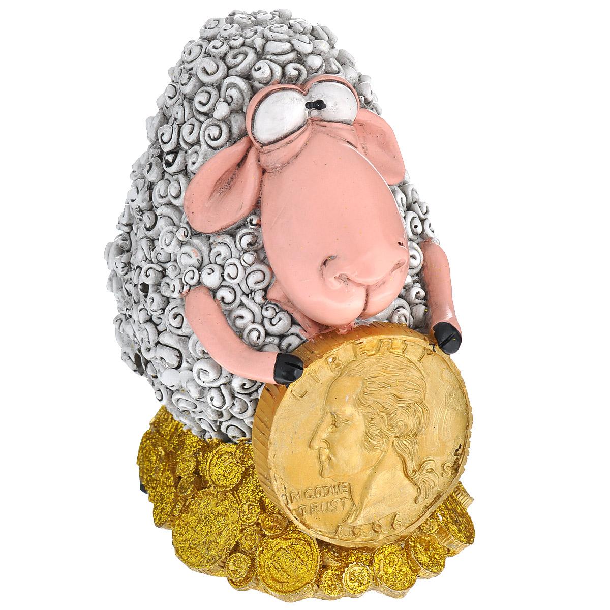 Копилка декоративная Comical World Овечка с монетой, цвет: серый, золотистыйCW-WD83715-AL