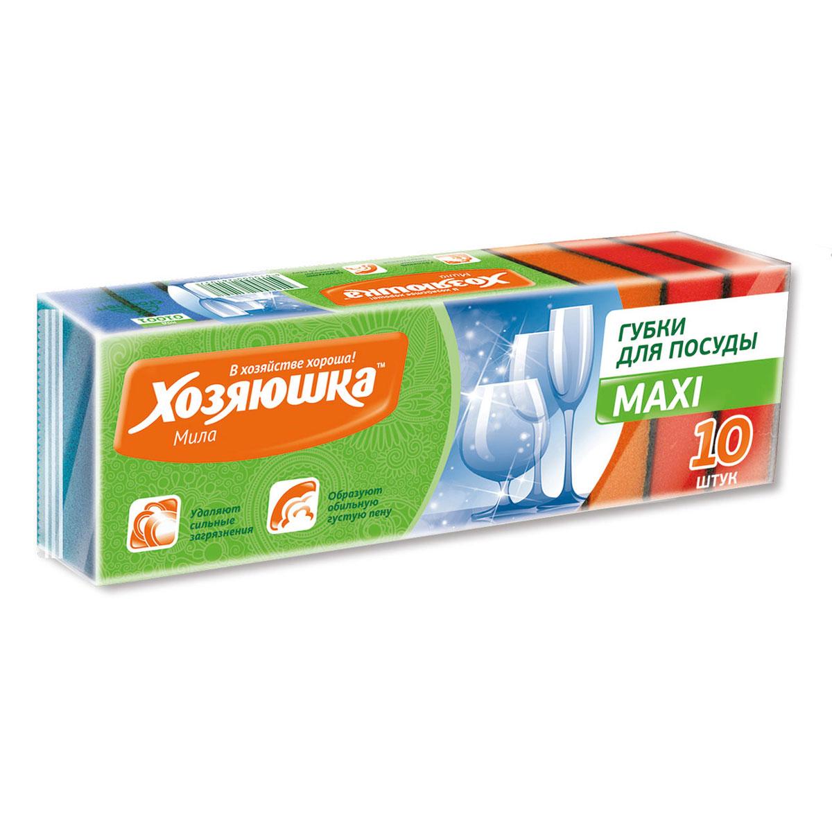 Набор губок Хозяюшка Мила Maxi для мытья посуды, 10 шт01001