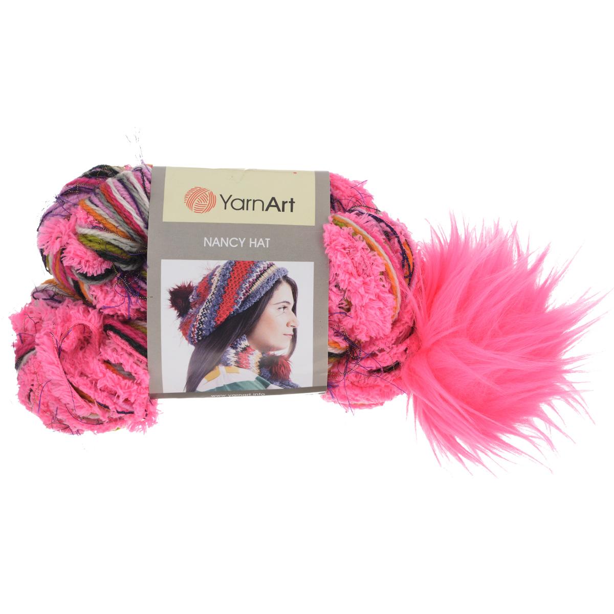 Пряжа для вязания YarnArt Nancy Hat, цвет: розовый, сиреневый, белый (708), 135 м, 85 г, 3 шт549380_708Оригинальная фантазийная пряжа для вязания YarnArt Nancy Hat предназначена для вязания шапочек. Одного мотка хватает для того, чтобы связать шапку с помпоном. Помпон привязан к мотку и по окончании работы привязывается к нужному месту на шапочке. Пряжа чередует в себе разную фактуру и цвета, по ходу вязания формируя озорную молодежную шапочку. Состав: 10% шерсть, 40% акрил, 35% микрополиамид, 15% полиэстер. Рекомендуемый размер спиц: №6. Рекомендуемый размер крючка: №6,5.