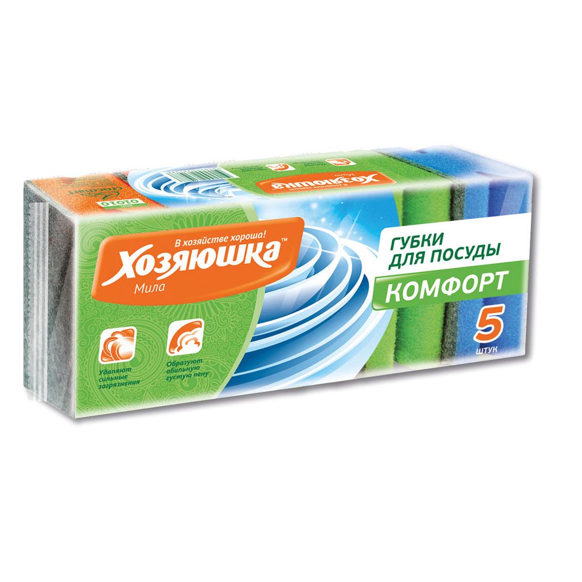 Набор губок Хозяюшка Мила Комфорт для мытья посуды, 5 шт01010Набор Хозяюшка Мила Комфорт состоит из 5 цветных поролоновых губок. Губки оформлены абразивным чистящим слоем. Глубокая фаска предназначена для защиты ногтей от моющих средств и механических повреждений. Комплектация: 5 шт. Размер губки: 9,5 см х 6,5 см х 4 см.