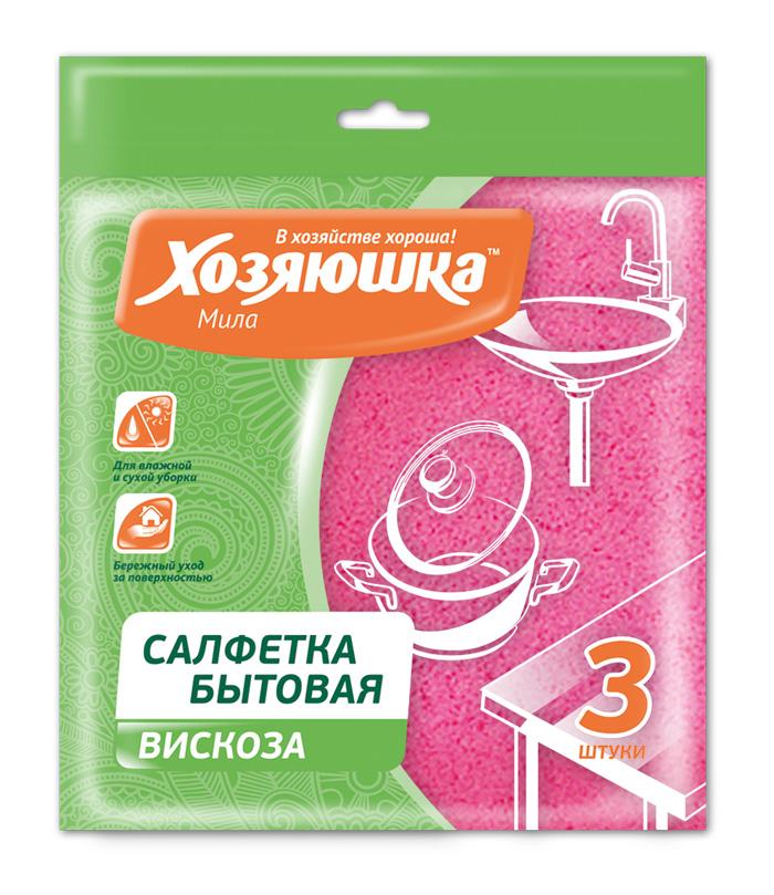 Салфетка бытовая Хозяюшка Мила, цвет: розовый, 35 х 35 см, 3 шт04001Салфетка бытовая Хозяюшка Мила, выполненная из вискозы и полипропилена, хорошо впитывает влагу и легко выжимается. Отлично удаляет пыль, не оставляет разводов и ворсинок. Салфетка может использоваться для ухода за всеми видами поверхностей: деревянной и ламинированной мебели, кухонной мебели, кафеля, раковин. Размер салфетки: 35 см х 35 см. Комплектация: 3 шт.