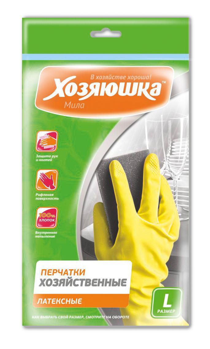 Перчатки хозяйственные Хозяюшка Мила, латексные. Размер L17003Перчатки хозяйственные защищают руки от вредных воздействий при любых работах по дому, в саду, при ремонтных работах. Хлопковое напыление обеспечивает комфорт и дополнительное удобство для рук, предотвращает возникновение парникового эффекта. Рифленая поверхность позволяет надежно удерживать предметы в руках.