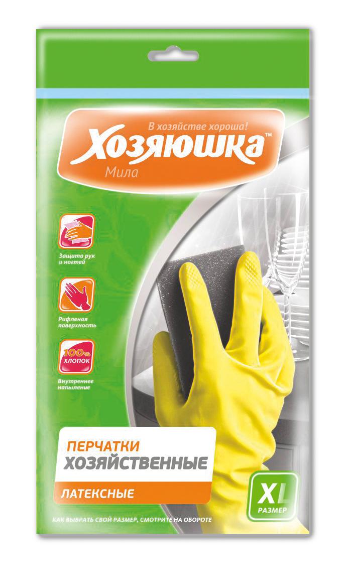Перчатки хозяйственные Хозяюшка Мила, латексные. Размер XL17025Перчатки хозяйственные защищают руки от вредных воздействий при любых работах по дому, в саду, при ремонтных работах. Хлопковое напыление обеспечивает комфорт и дополнительное удобство для рук, предотвращает возникновение парникового эффекта. Рифленая поверхность позволяет надежно удерживать предметы в руках.