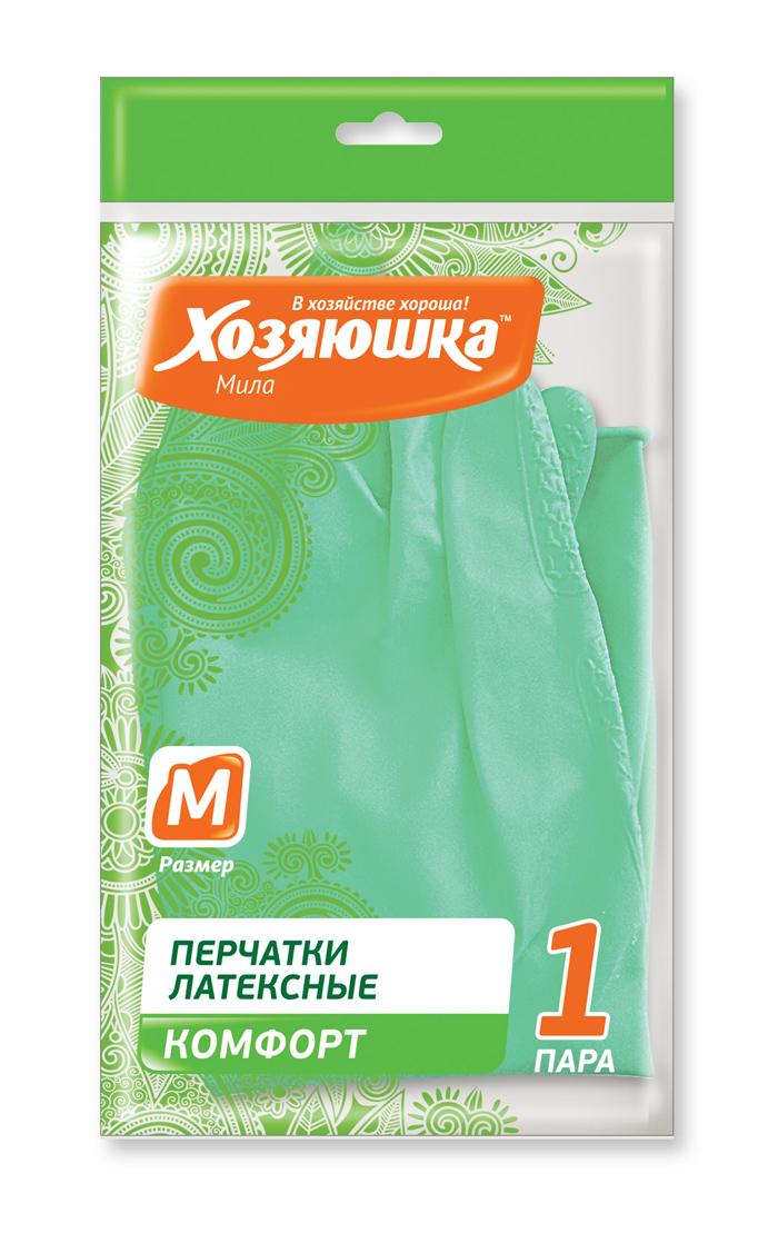 """Перчатки латексные Хозяюшка Мила """"Комфорт"""". Размер M"""