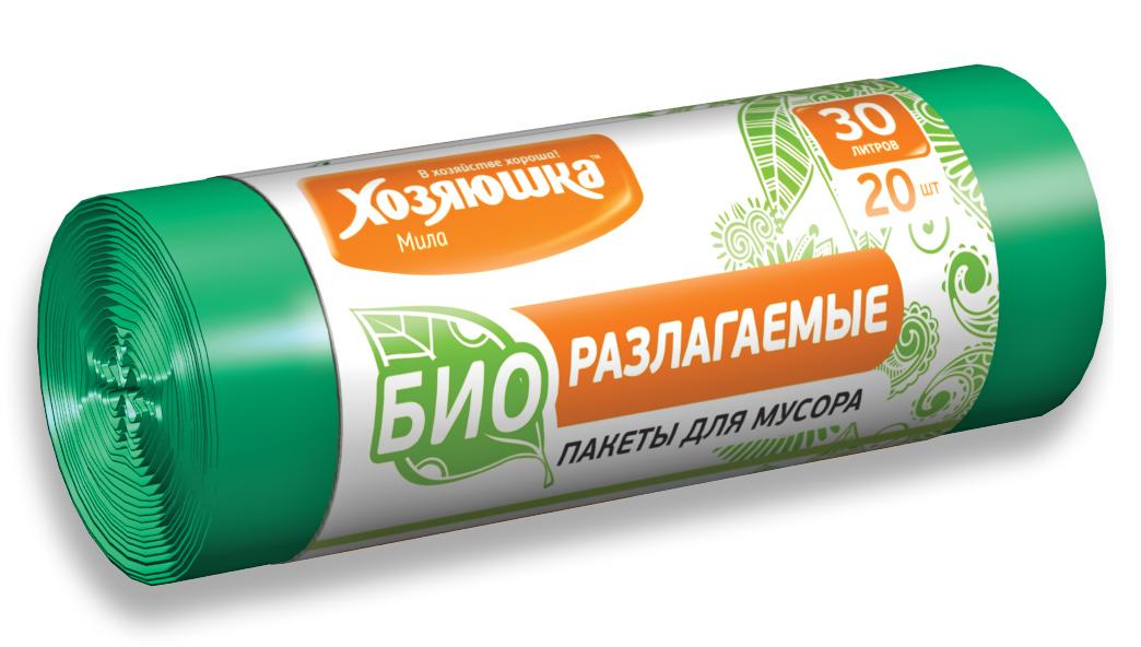 Пакеты для мусора Хозяюшка Мила, биоразлагаемые, цвет: зеленый, 30 л, 20 шт07025Биоразлагаемые пакеты для мусора Хозяюшка Мила созданы из материалов, которые после использования разлагаются за 1,5-2 года под действием кислорода, воды и света и превращаются в органические соединения. Поэтому биоразлагаемые пакеты не оказывают негативного воздействия на природу и в последнее время пользуются всё большим спросом. Данный вид пакетов полностью аналогичен обычным пакетам для мусора по прочности и внешнему виду. Объем мешка: 30 л. Количество в упаковке: 20 шт. Длина мешка: 57,5 см.