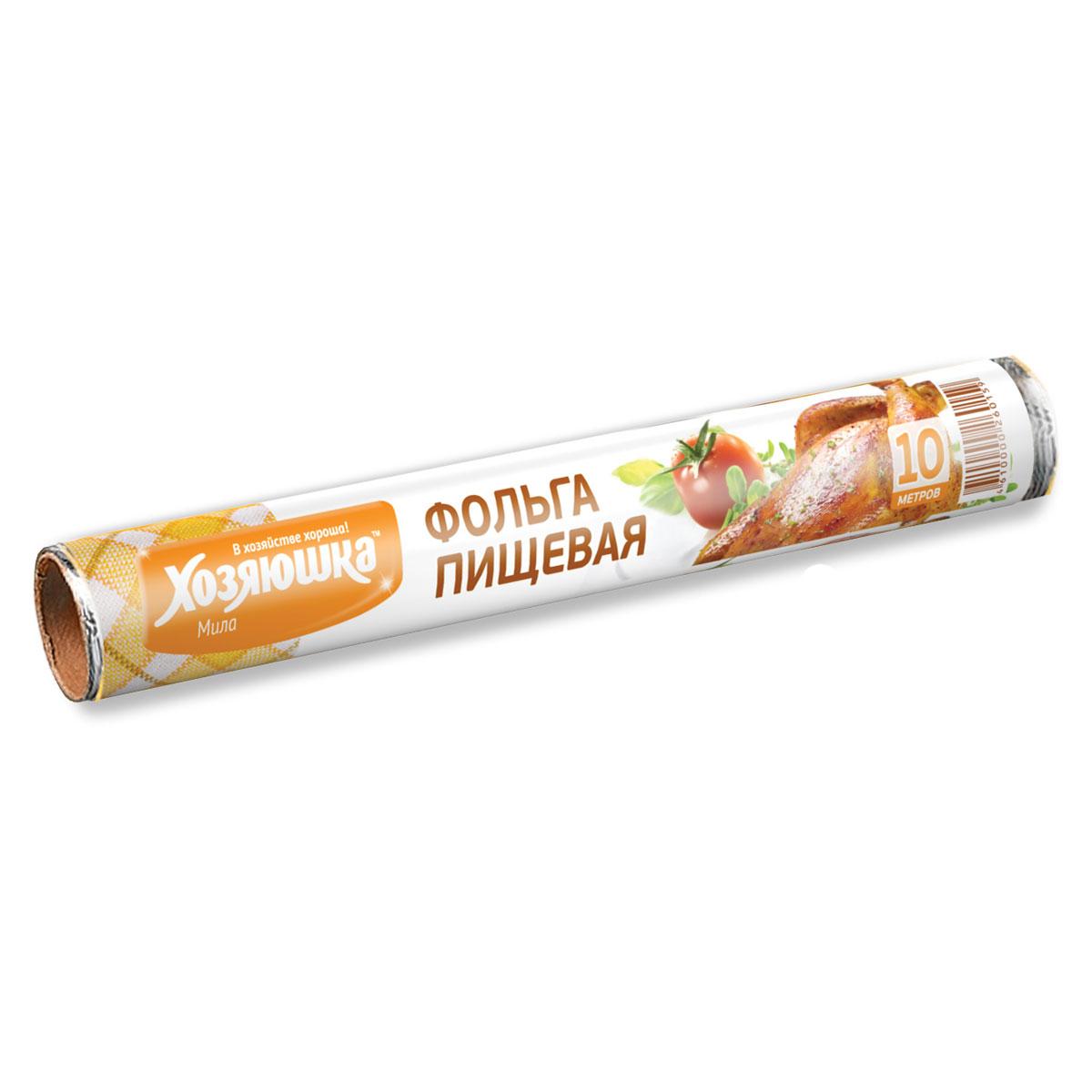 Фольга пищевая Хозяюшка Мила, длина 10 м09004-60Фольга Хозяюшка Мила, выполненная из алюминия, применяется для хранения и запекания продуктов. Прекрасно сохраняет полезные свойства продуктов, позволяет длительно хранить продукты питания. При запекании предотвращает разбрызгивание сока и жира, делает блюда сочными, аппетитными и полезными. Широкое полотно позволяет хранить и запекать крупные куски мяса и рыбы, овощей. Длина фольги: 10 м.