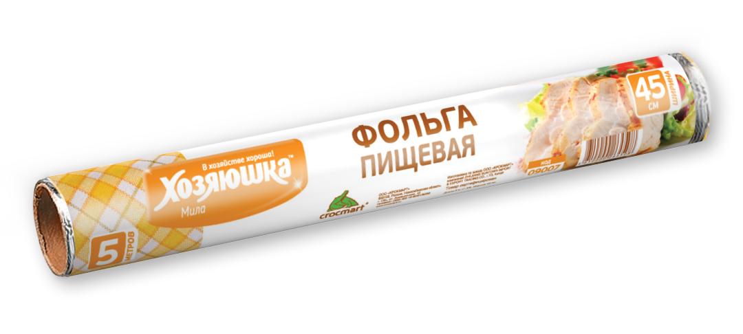Фольга пищевая Хозяюшка Мила, 45 см х 5 м09007Фольга Хозяюшка Мила, выполненная из алюминия, применяется для хранения и запекания продуктов. Прекрасно сохраняет полезные свойства продуктов, позволяет длительно хранить продукты питания. При запекании предотвращает разбрызгивание сока и жира, делает блюда сочными, аппетитными и полезными. Широкое полотно позволяет хранить и запекать крупные куски мяса и рыбы, овощей. Длина фольги: 5 м. Ширина фольги: 45 см.