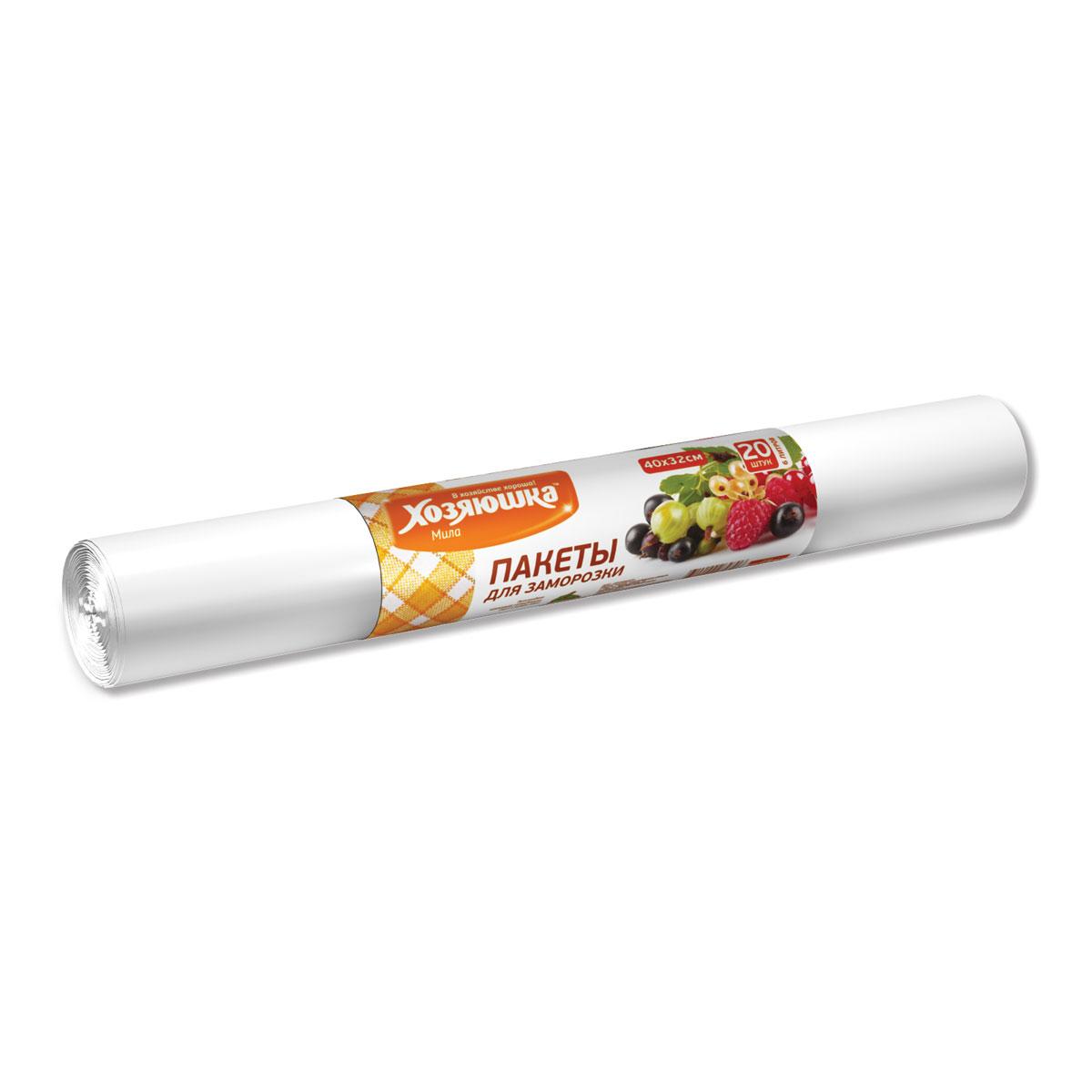 Пакеты для замораживания и хранения Хозяюшка Мила, 6 л, 20 шт09010-110Пакеты Хозяюшка Мила предназначены для хранения и замораживания продуктов. Также их можно использовать для хранения сыпучих продуктов и мелких предметов. Пакеты для замораживания продуктов изготавливаются из высококачественного полиэтилена низкого давления. Выдерживают температуру от -400С до +1150С и могут использоваться не только для замораживания, но также для разогрева, хранения продуктов. Охлаждённые или замороженные продукты можно разогревать / размораживать в микроволновой печи, не вынимая из пакета. Замороженные продукты не прилипают к пакету.