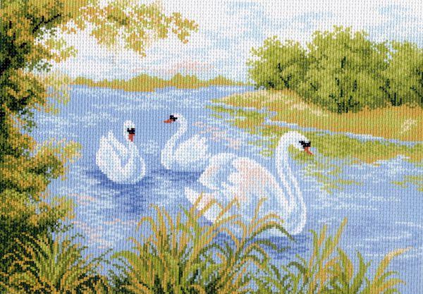 Канва с рисунком для вышивания Лебеди, 37 см х 49 см. 426596_715551058Канва с рисунком для вышивания Лебеди изготовлена из хлопка. Вышивка выполняется в технике полный крестик в 2-3 нити или полукрестом в 4 нити. Создайте свой личный шедевр - красивую вышитую картину. Работа, выполненная своими руками, станет отличным подарком для друзей и близких! УВАЖАЕМЫЕ КЛИЕНТЫ! Обращаем ваше внимание, на тот факт, что цвет символа на ткани может отличаться от реального цвета нити мулине. Рекомендуемое количество цветов: 14.