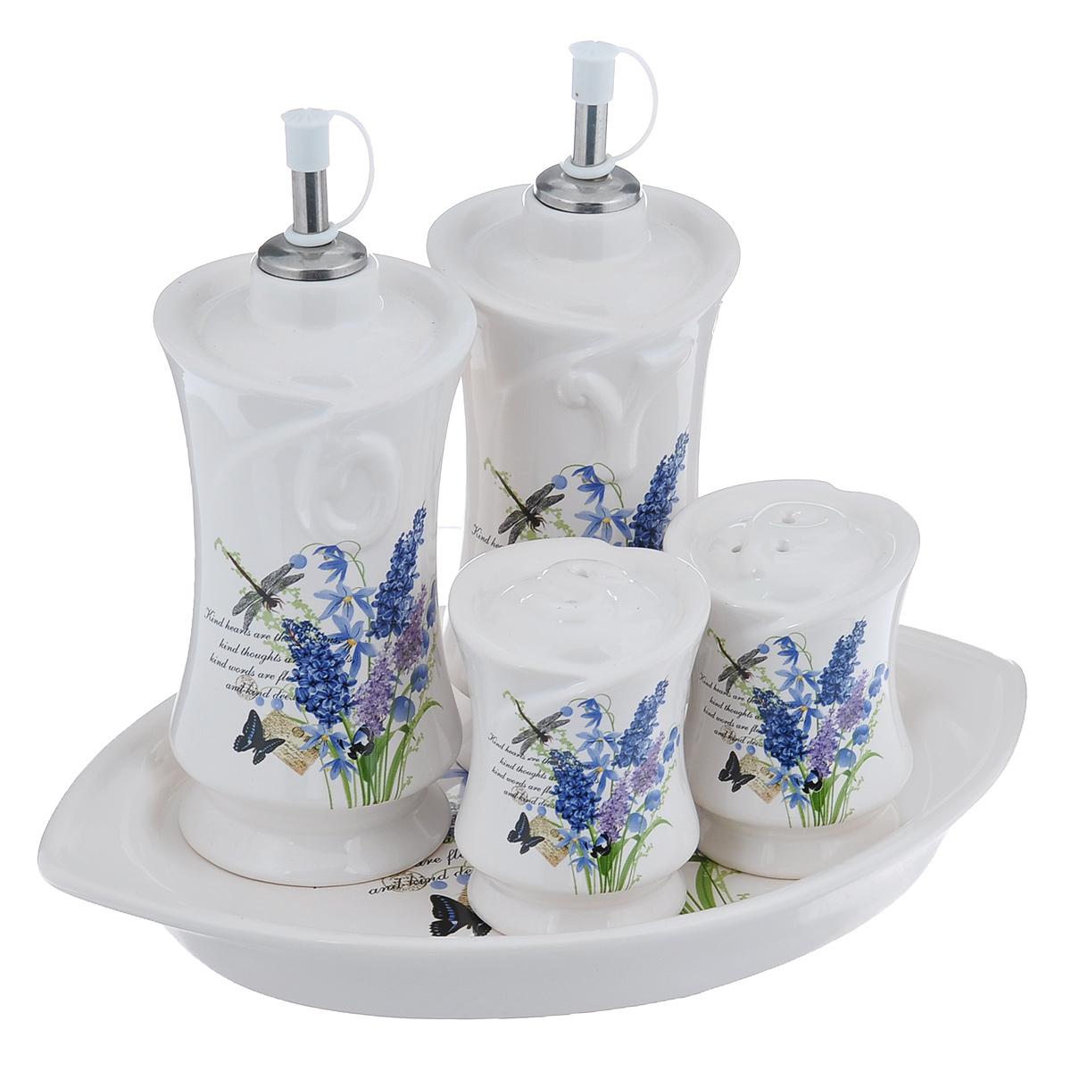 Набор для специй Полевые цветы, 5 предметовDFC03840-02252 5/SНабор Полевые цветы состоит из двух соусников, перечницы, солонки и подставки. Предметы набора изготовлены из доломитовой керамики и декорированы изображением цветов и насекомых. Оригинальный дизайн, эстетичность и функциональность набора позволят ему стать достойным дополнением к кухонному инвентарю. Можно мыть в посудомоечной машине на минимальной температуре. Высота соусника (с учетом крышки): 20 см. Диаметр основания соусника: 6,8 см. Высота солонки и перечницы: 8,5 см. Диаметр основания солонки и перечницы: 5,3 см. Размер подставки: 27 см х 18,5 см х 2,5 см.