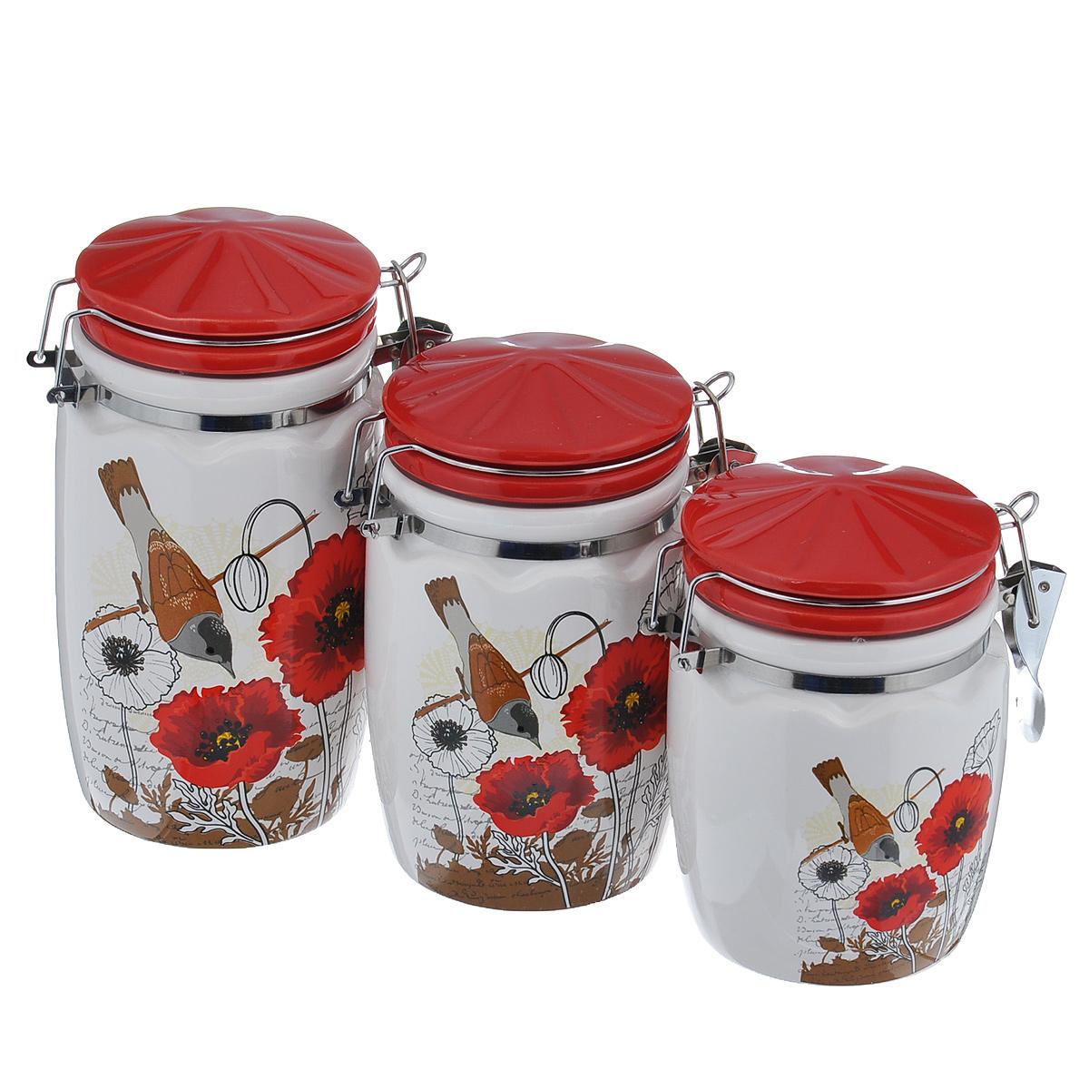 Набор банок для хранения сыпучих продуктов Маки, цвет: красный, 3 штDFC03804/805/806-02253 3/SНабор Маки состоит из трех емкостей для специй разной высоты. Предметы набора изготовлены из доломитовой керамики и декорированы изображением цветов. На каждой банке имеется специальный металлический фиксатор, благодаря которому емкость будет всегда надежно закрыта. Оригинальный дизайн, эстетичность и функциональность набора позволят ему стать достойным дополнением к кухонному инвентарю. Можно мыть в посудомоечной машине на минимальной температуре. Высота емкостей (без учета крышки): 16 см, 13 см, 11 см. Диаметр основания емкостей: 8 см.
