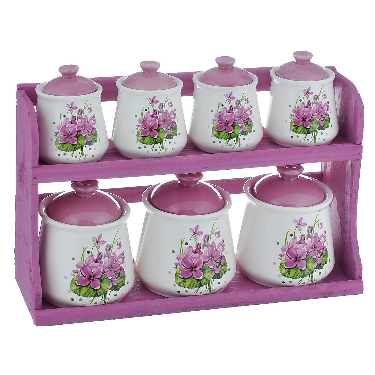 """Набор банок для хранения сыпучих продуктов """"Нежные цветы"""", цвет: фиолетовый, белый, 8 предметов"""