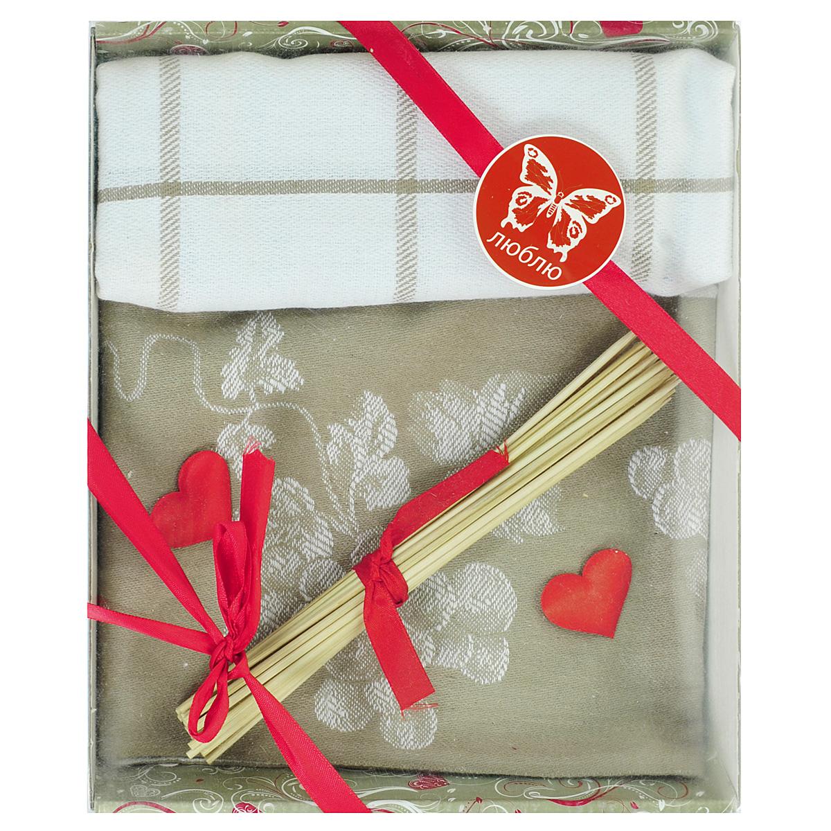 Подарочный набор для кухни Bonita Домашний уют, цвет: светло-коричневый, 3 предмета. 101211591101211591св/коричн.Подарочный набор для кухни Bonita Домашний уют состоит из двух жаккардовых полотенец и комплекта бамбуковых шпажек. Полотенца выполнены из 100% хлопка. Такой набор оригинально украсит интерьер и будет уместен на любой кухне. Прекрасно подойдет в качестве подарка, который окажется не только приятным, но и полезным в хозяйстве. Набор упакован в подарочную коробку.