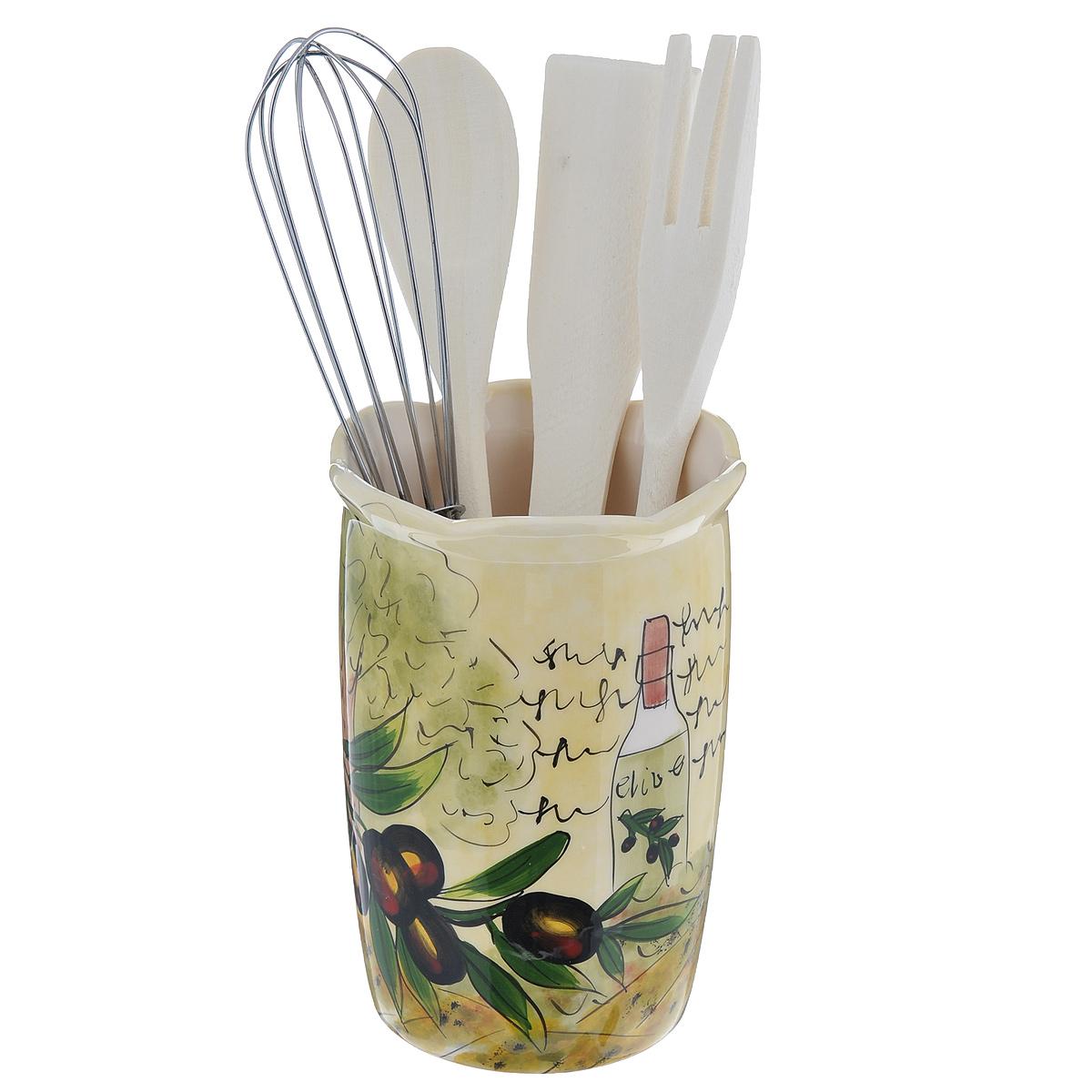 Набор кухонных принадлежностей Маслины, 5 предметовDFC02608-02208 5/SНабор кухонных принадлежностей Маслины состоит из лопатки, ложки, вилки, венчика и подставки. Лопатка, вилка и ложка выполнены из высококачественного дерева и предназначены для переворачивания, перемешивания различных блюд. Металлический венчик будет незаменим для приготовления теста или крема. Предметы набора хранятся в отдельной керамической подставке, декорированной изображением маслин. Оригинальный дизайн, эстетичность и функциональность набора позволят ему стать достойным дополнением к кухонному инвентарю. Можно мыть в посудомоечной машине на минимальной температуре.