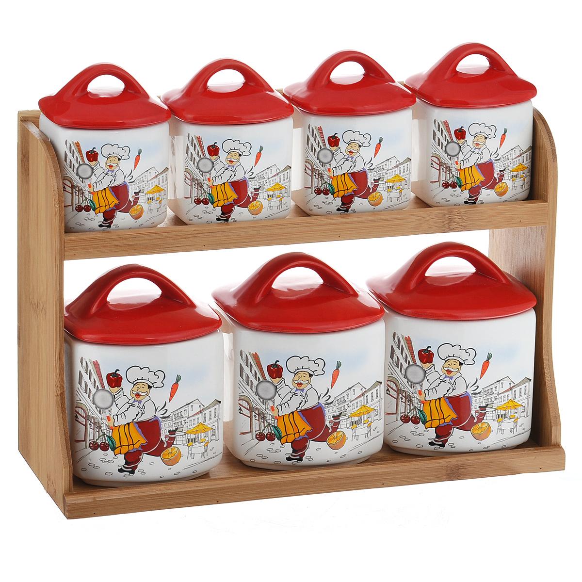 Набор банок для хранения сыпучих продуктов Веселый повар, цвет: красный, белый, 8 предметовDFC00574-02226 W 7/SНабор Веселый повар состоит из трех больших банок, четырех маленьких банок и подставки. Предметы набора изготовлены из доломитовой керамики и декорированы изображением повара. Изделия помещаются на удобную деревянную подставку. Оригинальный дизайн, эстетичность и функциональность набора позволят ему стать достойным дополнением к кухонному инвентарю. Можно мыть в посудомоечной машине на минимальной температуре. Размер основания большой емкости: 8,5 х 9,5 см. Высота большой емкости (без учета крышки): 9 см. Размер основания маленькой емкости: 7 см х 6 см. Высота маленькой емкости (без учета крышки): 6,5 см. Размер подставки: 33 см х 10,5 см х 22 см.
