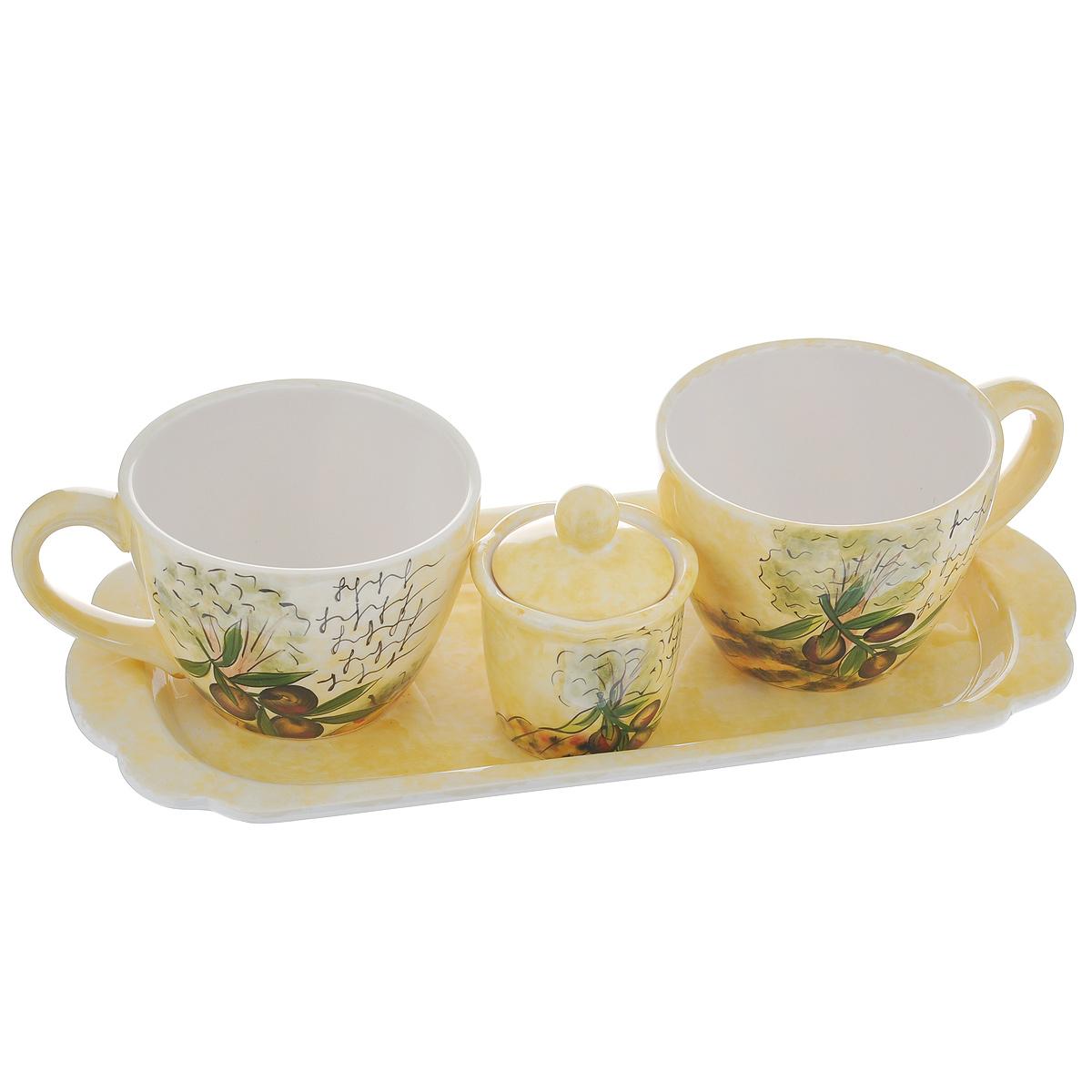 Набор чайный Маслины, 4 предметаDFC02063-02208 4/SНабор чайный Маслины состоит из двух чашек, сахарницы и подставки. Набор выполнен из доломитовой керамики и декорирован изображением маслин. Оригинальный дизайн, эстетичность и функциональность набора позволят ему стать достойным дополнением к кухонному инвентарю. Можно мыть в посудомоечной машине на минимальной температуре. Объем чашки: 480 мл. Диаметр чашки (по верхнему краю): 10,5 см. Высота чашки: 8 см. Размер подставки: 35 см х 16 см х 2,5 см. Объем сахарницы: 100 мл. Диаметр сахарницы (по верхнему краю): 7,5 см. Высота сахарницы (без учета крышки): 6 см.