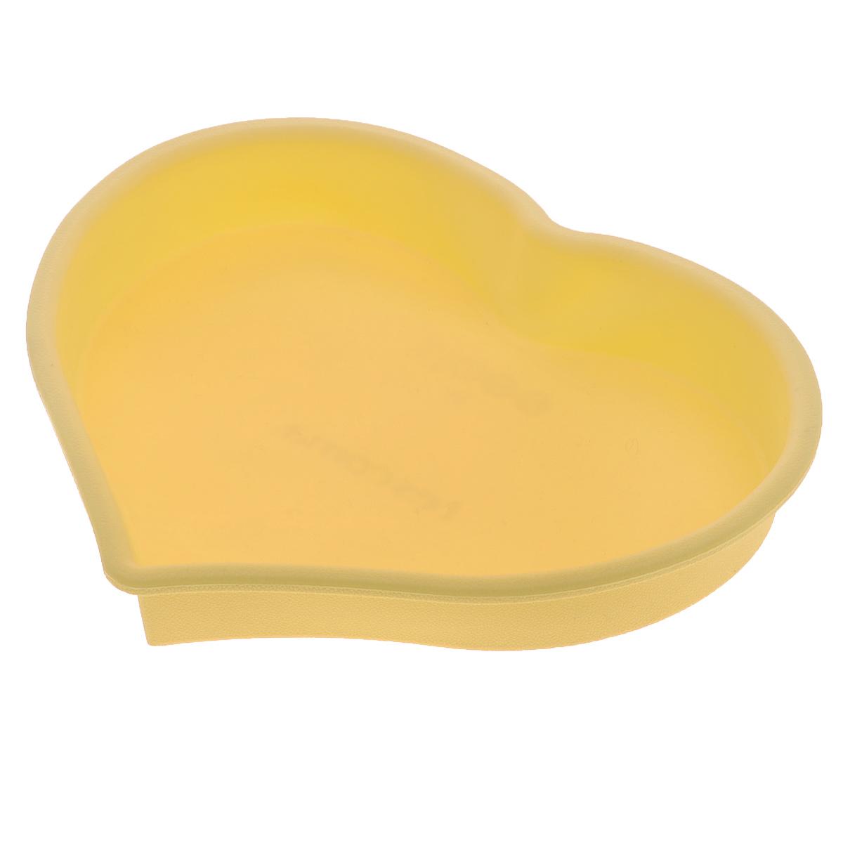 Форма для выпечки Tescoma Delicia Silicone, цвет: желтый, 25 см х 24 см629280Форма Tescoma Delicia Silicone, выполненная в виде сердца, будет отличным выбором для всех любителей выпечки. Благодаря тому, что форма изготовлена из силикона, готовую выпечку вынимать легко и просто. Форма прекрасно подходит для выпечки пирогов, тортов и других десертов. С такой формой вы всегда сможете порадовать своих близких оригинальной выпечкой. Материал изделия устойчив к фруктовым кислотам, может быть использован в духовках, микроволновых печах, холодильниках и морозильных камерах (выдерживает температуру от -40°C до 230°C). Антипригарные свойства материала позволяют готовить без использования масла. Можно мыть и сушить в посудомоечной машине. При работе с формой используйте кухонный инструмент из силикона - кисти, лопатки, скребки. Не ставьте форму на электрическую конфорку. Не разрезайте выпечку прямо в форме.