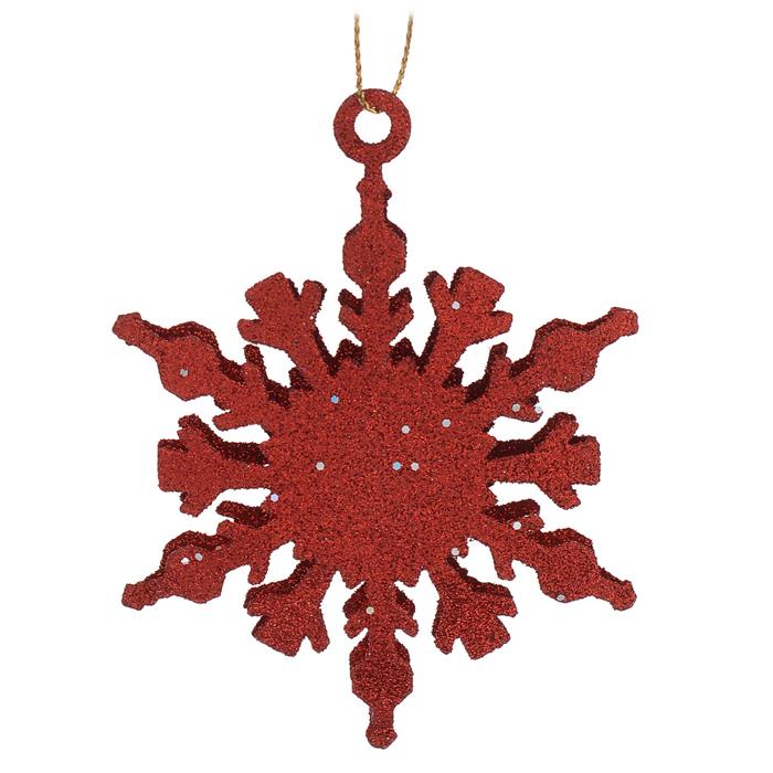Новогоднее подвесное украшение Снежинка, цвет: красный. Ф21-1645Ф21-1645