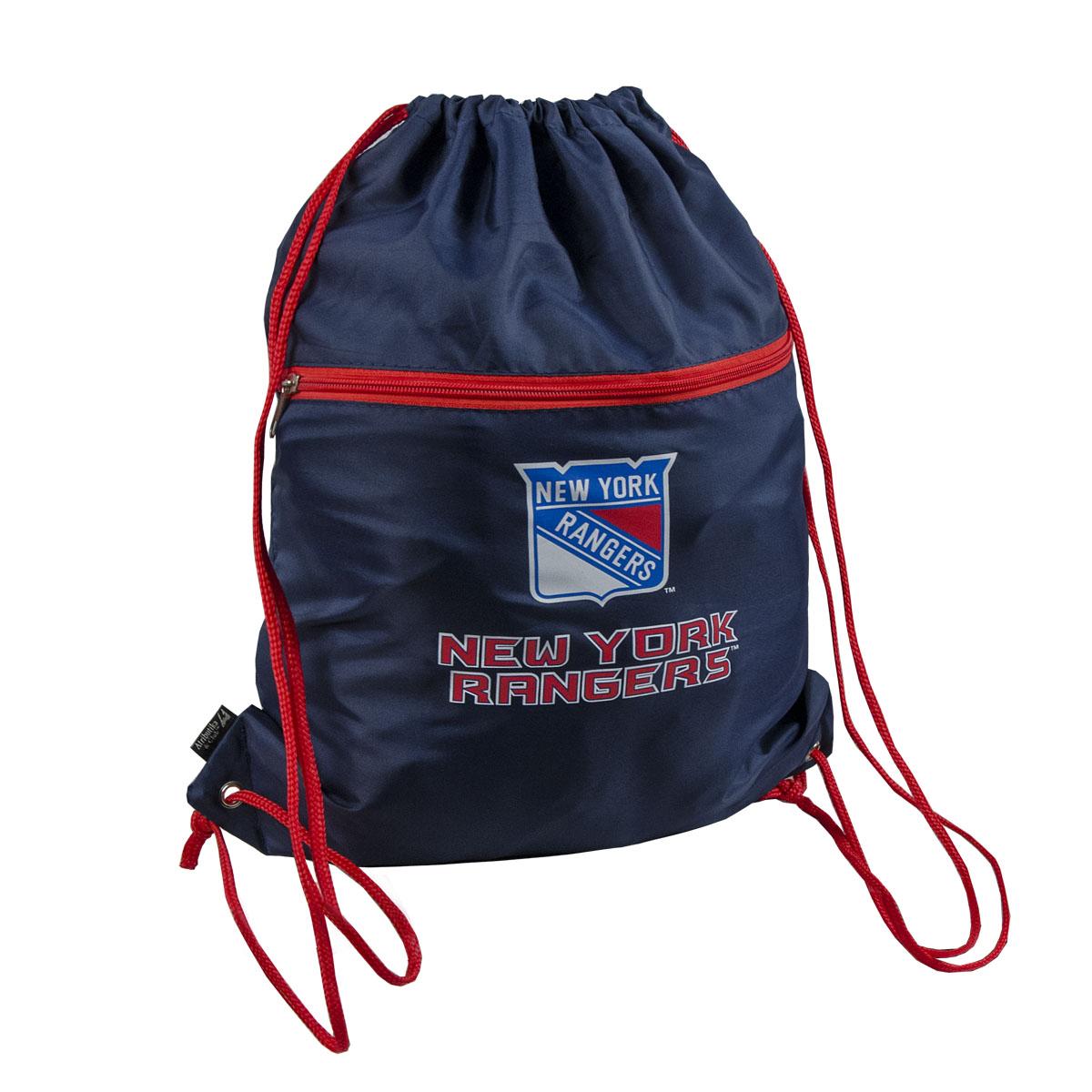 Мешок на шнурке NHL Rangers, цвет: синий, 15 л58026Мешок на шнурке NHL Rangers выполнен из 100% полиэстера. Он выполняет функции рюкзака, благодаря плечевым лямкам, которые надежно фиксируют изделие у его верхнего основания. Мешок имеет 2 отделения, одно из которых закрывается на молнию. Украшен эмблемой хоккейной команды Rangers.