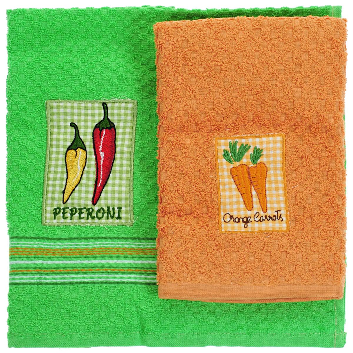 Набор махровых полотенец Bonita Перец. Морковь, 40 см х 60 см, 2 шт20100313373перец/морковьНабор полотенец Bonita Перец. Морковь, изготовленный из натурального хлопка, идеально дополнит интерьер вашей кухни и создаст атмосферу уюта и комфорта. В набор входят два махровых полотенца. Полотенца оформлены вышивкой в виде перца и морковки. Изделия выполнены из натурального материала, поэтому являются экологически чистыми. Высочайшее качество материала гарантирует безопасность не только взрослых, но и самых маленьких членов семьи. Современный декоративный текстиль для дома должен быть экологически чистым продуктом и отличаться ярким и современным дизайном. Кухня, столовая, гостиная - то место в доме, где хочется собраться всем вместе, ощутить радость и уют. И немалая доля этого уюта зависит от подобранных под вашу мебель, и что уж говорить, под ваше настроение - полотенец, скатертей, салфеток и прочих милых мелочей. Bonita предлагает коллекции готовых стилистических решений для различной кухонной мебели, множество видов, рисунков и цветов....