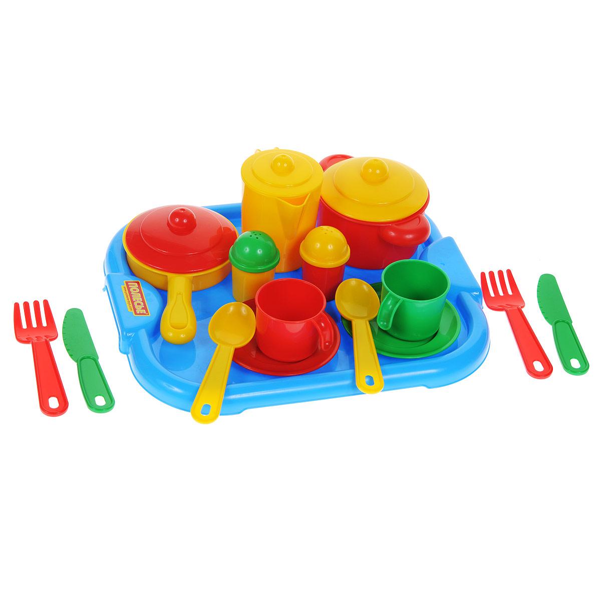 """Набор детской посуды Полесье """"Настенька"""", цвет: голубой, красный, желтый, зеленый, 19 предметов 3940"""