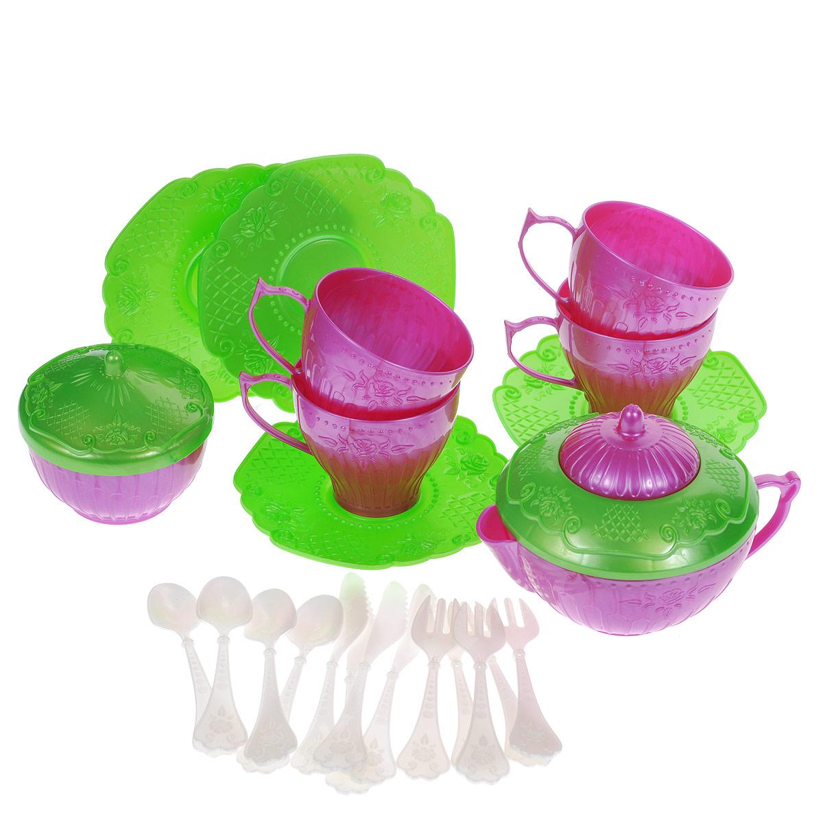 Набор детской посуды Чайный сервиз Волшебная Хозяюшка, 22 предмета, цвет: розовый, зеленыйН-620Набор детской посуды Чайный сервиз Волшебная Хозяюшка - отличный подарок для вашей маленькой хозяюшки, которой так хочется быть самостоятельной! Он поможет малышке научиться накрывать на стол к обеду. В комплект набора входят 4 блюдца, 4 чашки, 4 ложки, 4 вилки, 4 ножа, кофейник с крышкой и сахарница с крышкой. Элементы набора выполнены из прочного пластика ярких цветов. С таким набором все куколки вашей малышки будут сытыми. УВАЖАЕМЫЕ КЛИЕНТЫ! Обращаем ваше внимание на возможные изменения в цветовом дизайне, связанные с ассортиментом продукции. Поставка осуществляется в зависимости от наличия на складе.