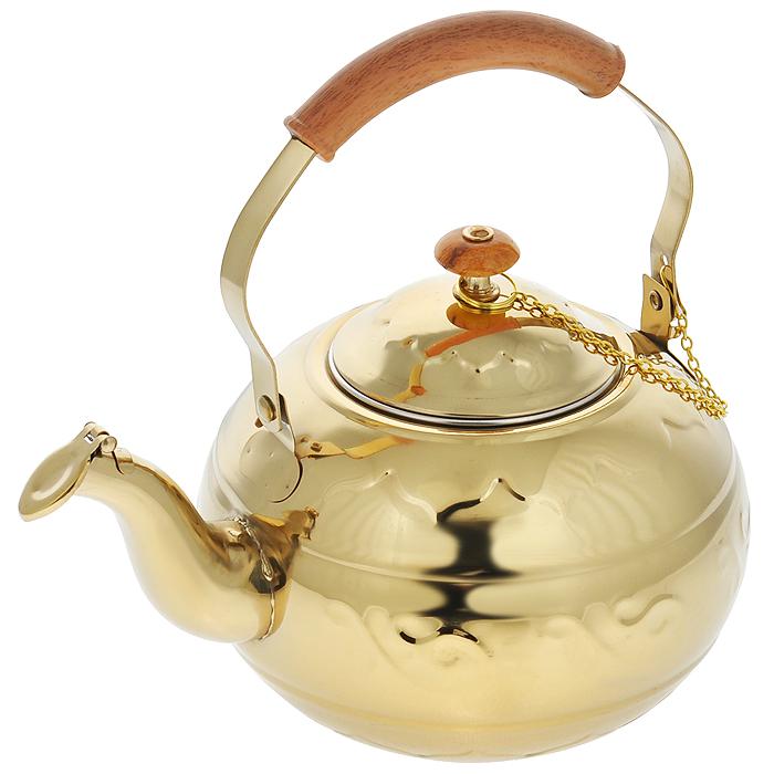 Чайник Bekker, с ситечком, цвет: золотистый, 1,3 лBK-S494Чайник Bekker выполнен из высококачественной нержавеющей стали, что обеспечивает долговечность использования. Рельеф и зеркальное покрытие придает приятный внешний вид. Бакелитовая ручка делает использование чайника очень удобным и безопасным. Чайник снабжен ситечком для заваривания. Можно мыть в посудомоечной машине. Пригоден для всех видов плит, включая индукционные.