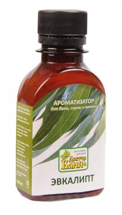 Ароматизатор для бани и сауны Доктор баня Эвкалипт, 100 мл8855Ароматизатор для бани и сауны Эвкалипт изготовлен на основе натурального эфирного масла. Масло масло эвкалипта снижает повышенную утомляемость организма, обладает обезболивающим эффектом, устраняет воспалительные процессы в легких, обладает жаропонижающими свойствами. Ароматизатор Эвкалипт сделает пребывание в бане или сауне не только приятнее, но и полезнее! Способ применения: Для бани и сауны, перед употреблением взболтать, добавить 15-20 мл на ковш воды, полить стены, полки в бане, сауне или поддать на камни; добавить в ванну.