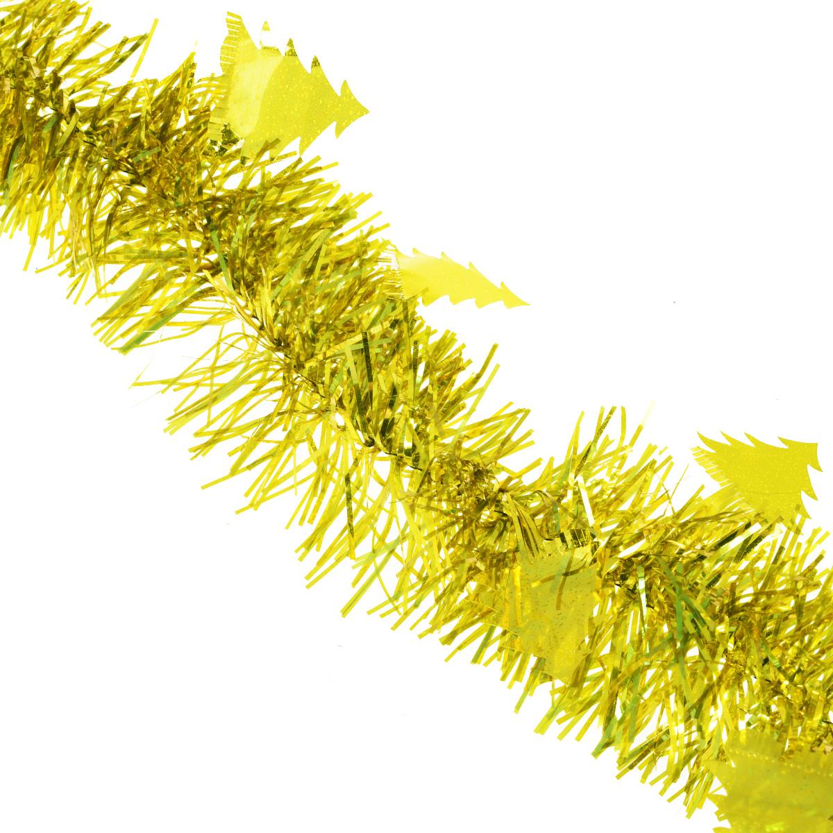 Мишура новогодняя Sima-land, цвет: золотистый, диаметр 8 см, длина 2 м. 702595702595Мишура новогодняя Sima-land, выполненная из фольги, поможет вам украсить свой дом к предстоящим праздникам. Мишура декорирована елочками и армирована, то есть имеет проволоку внутри и способна сохранять приданную ей форму. Новогодняя елка с таким украшением станет еще наряднее. Новогодней мишурой можно украсить все, что угодно - елку, квартиру, дачу, офис - как внутри, так и снаружи. Можно сложить новогодние поздравления, буквы и цифры, мишурой можно украсить и дополнить гирлянды, можно выделить дверные колонны, оплести дверные проемы. Коллекция декоративных украшений из серии Зимнее волшебство принесет в ваш дом ни с чем несравнимое ощущение праздника! Создайте в своем доме атмосферу тепла, веселья и радости, украшая его всей семьей.