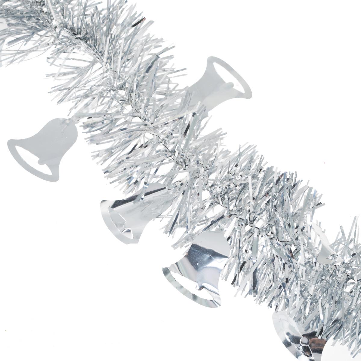 Мишура новогодняя Sima-land, цвет: серебристый, диаметр 8 см, длина 2 м. 702594702594Новогодняя мишура Sima-land, выполненная из фольги с дизайном в виде колокольчиков, поможет вам украсить свой дом к предстоящим праздникам. А новогодняя елка с таким украшением станет еще наряднее. Мишура армирована, то есть имеет проволоку внутри и способна сохранять приданную ей форму. Новогодней мишурой можно украсить все, что угодно - елку, квартиру, дачу, офис - как внутри, так и снаружи. Можно сложить новогодние поздравления, буквы и цифры, мишурой можно украсить и дополнить гирлянды, можно выделить дверные колонны, оплести дверные проемы. Коллекция декоративных украшений из серии Зимнее волшебство принесет в ваш дом ни с чем несравнимое ощущение праздника! Создайте в своем доме атмосферу тепла, веселья и радости, украшая его всей семьей.