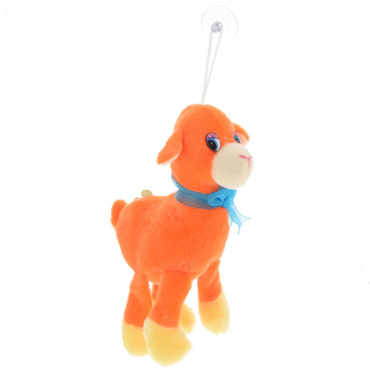 Мягкая игрушка Sima-land Овечка, на присоске, цвет: оранжевый, 15 см. 511090511090Очаровательная мягкая игрушка Sima-land Овечка не оставит вас равнодушным и вызовет улыбку у каждого, кто ее увидит. Игрушка выполнена из искусственного меха и текстиля в виде забавной овечки, украшенной ярким бантом и цветком. К голове игрушки прикреплена петелька с силиконовой присоской, что позволит расположить ее в удобном месте. Мягкая и приятная на ощупь игрушка станет замечательным подарком, который вызовет массу положительных эмоций.