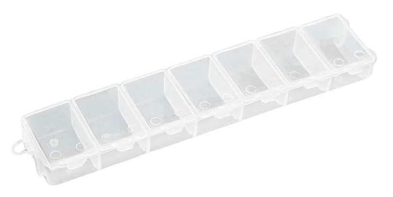 Органайзер для хранения бисера Белоснежка, 7 отделенийBО-107Органайзер для хранения бисера «Белоснежка» изготовлен из прозрачного пластика, состоит из 7 небольших прямоугольных отделений. Каждое отделение имеет плотно закрывающуюся крышку. С таким органайзером процесс рукоделия станет еще более комфортным и интересным! Материал: пластик. Размер органайзера: 15 см х 3 см х 1,5 см. Размер одного отделения: 3 см х 2 см.