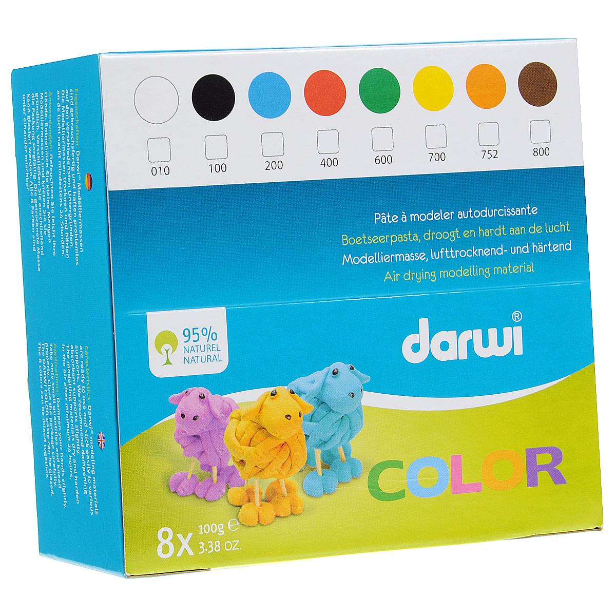 Набор массы для лепки DarwiI Color, 8 цветов, 100 г692532Набор для лепки DarwiI Color состоит из массы 8 цветов. Изделие имеет свойство отвердевать на воздухе. Время отвердения минимум 24 часа. После отвердения может покрываться лаком и подвергаться механической обработке. Предназначена для детей старше 3 лет.