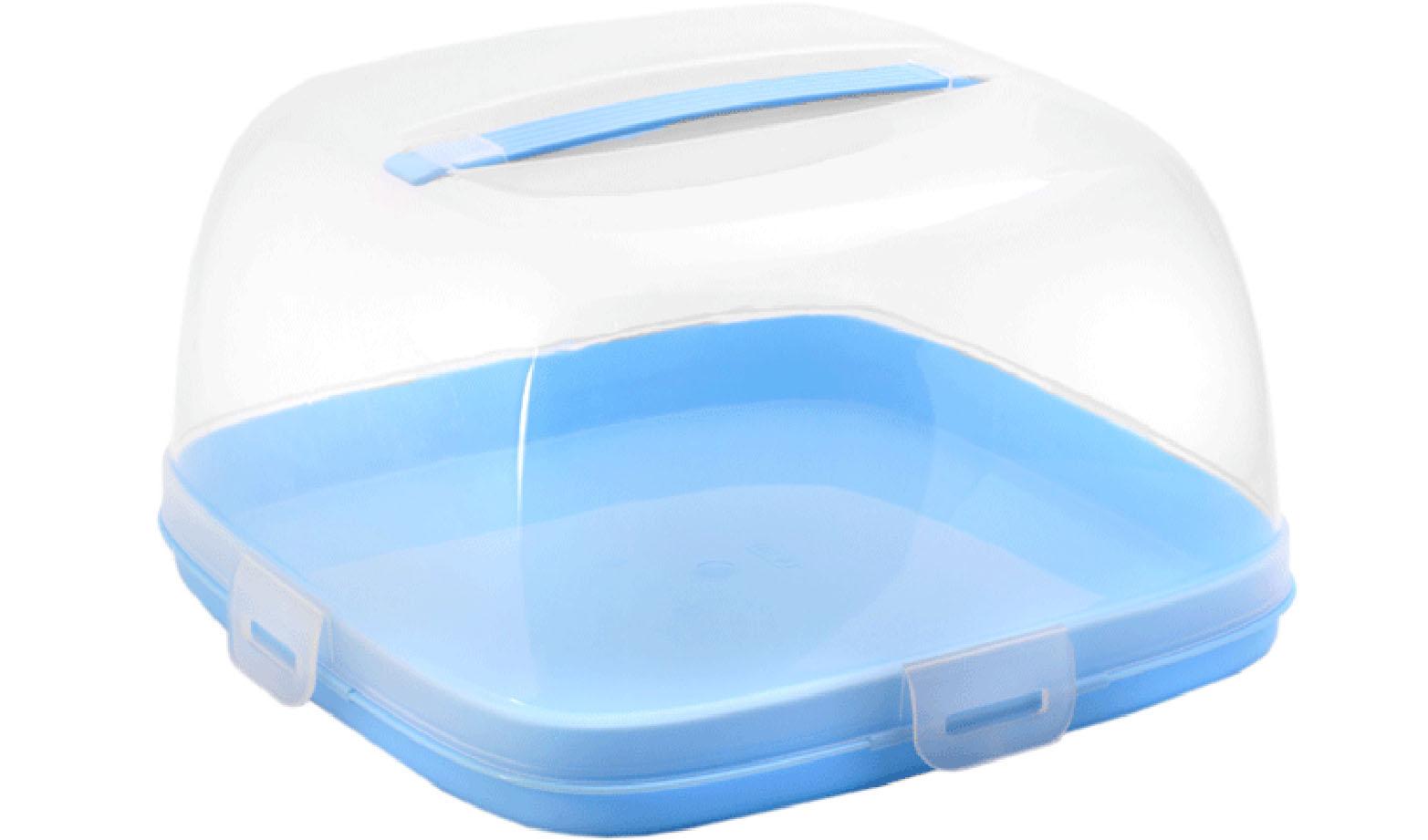 Тортница Idea, с защелками, цвет: прозрачный, голубой, 24 х 24 смМ 1121Тортница Idea изготовлена из высококачественного прочного пищевого пластика. Она состоит из квадратного двухстороннего поддона и прозрачной крышки. Благодаря четырем защелкам крышка плотно сидит на подносе, что позволяет сохранить первоначальную свежесть торта и защитить его от посторонних запахов. Крышка изделия имеет удобную ручку для переноски. Размер поддона: 24 см х 24 см. Высота борта: 2,5 см. Высота крышки: 12,5 см.