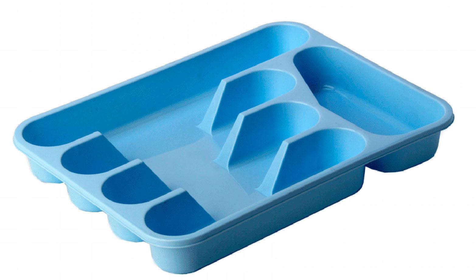 Лоток для столовых приборов Idea, цвет: голубой, 33 х 26 смМ 1140Лоток для столовых приборов Idea изготовлен из прочного пластика. Изделие имеет 3 одинаковых секции для столовых ложек, вилок и ножей, секцию для чайных ложек и длинную секцию для различных кухонных принадлежностей. Лоток помещается в любой кухонный ящик.