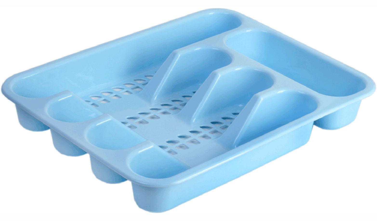 Лоток для столовых приборов Idea, цвет: голубой, 33 х 26 см. М1142М 1142Лоток для столовых приборов Idea изготовлен из прочного пластика. Изделие имеет 3 одинаковых секции для столовых ложек, вилок и ножей, секцию для чайных ложек и длинную секцию для различных кухонных принадлежностей. Лоток помещается в любой кухонный ящик.
