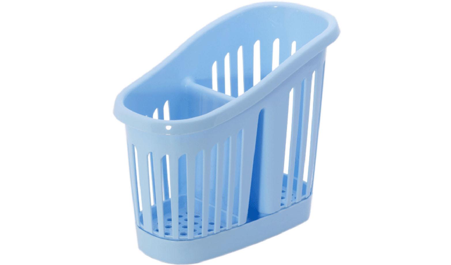 Подставка для столовых приборов Idea, цвет: голубой. М 1165М 1165Подставка для столовых приборов Idea, выполненная из высококачественного пластика, станет полезным приобретением для вашей кухни. Подставка имеет два отделения для разных видов столовых приборов. Дно и стенки отделений имеет перфорацию для легкого стока жидкости, которую собирает поднос. Такая подставка поможет аккуратно рассортировать все столовые приборы и тем самым поддерживать порядок на кухне.
