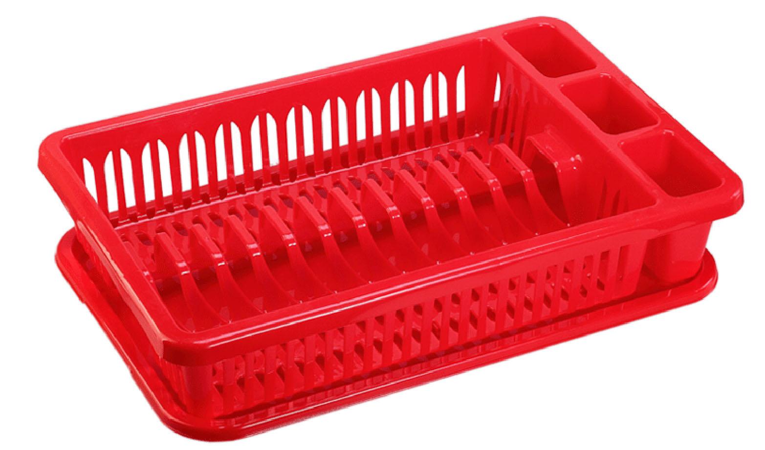 Сушилка для посуды Idea, с поддоном, цвет: красный, 43 х 28 х 9 смМ 1174Сушилка Idea, выполненная из прочного пластика, представляет собой решетку с ячейками, в которые помещается посуда: тарелки, кружки, ложки, ножи. Изделие оснащено пластиковым поддоном для стекания воды. Сушилку можно установить в любом удобном месте. На ней можно разместить большое количество предметов. Вместительные размеры и оригинальный дизайн выделяют эту сушку из ряда подобных. Размер сушилки: 43 х 28 х 9 см. Размер поддона: 42 х 28 х 1,8 см.