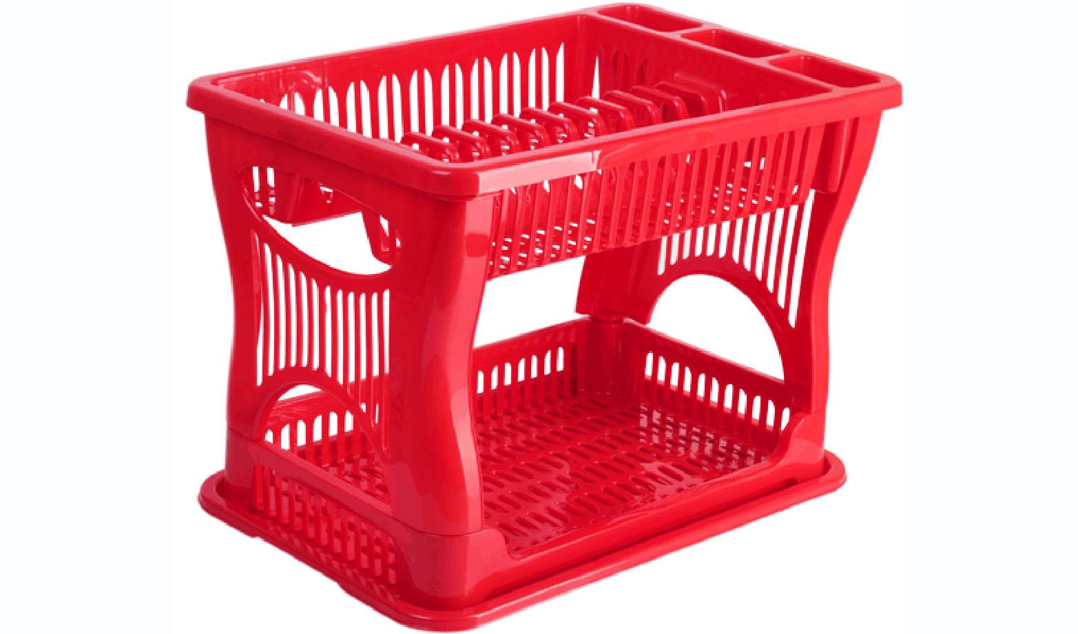 Сушилка для посуды Idea, 2-ярусная, цвет: красный, 42 х 27 х 30,5 смМ 1175Двухъярусная сушилка Idea выполнена из прочного пластика и оснащена поддоном. Изделие комплектуется двумя ярусами: верхний ярус - для тарелок и столовых приборов, нижний ярус - для кружек, мисок и других предметов. Благодаря своей функциональности, сушилка для посуды Idea займет достойное место на вашей кухне и будет очень полезна любой хозяйке. Стильный, современный и лаконичный дизайн сделает сушилку прекрасным дополнением интерьера вашей кухни. Сушилку для посуды можете установить в любом удобном месте. Компактные размеры и оригинальный дизайн выделяют сушилку из ряда подобных. Общий размер сушилки: 42 х 27 х 30,5 см.