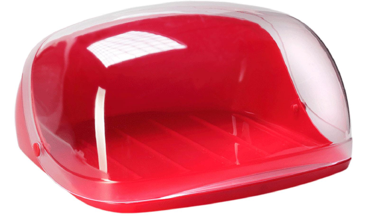 Хлебница Idea Кристалл, цвет: красный, прозрачный, 40 х 29 х 16 смМ 1181Хлебница Idea Кристалл, изготовленная из пищевого пластика, обеспечивает идеальные условия хранения для различных видов хлебобулочных изделий, надолго сохраняя их свежесть. Изделие оснащено плотно закрывающейся крышкой, защищающей продукты от воздействия внешних факторов (запахов и влаги). Вместительность, функциональность и стильный дизайн позволят хлебнице стать не только незаменимым аксессуаром на кухне, но и предметом украшения интерьера. В ней хлеб всегда останется свежим и вкусным.