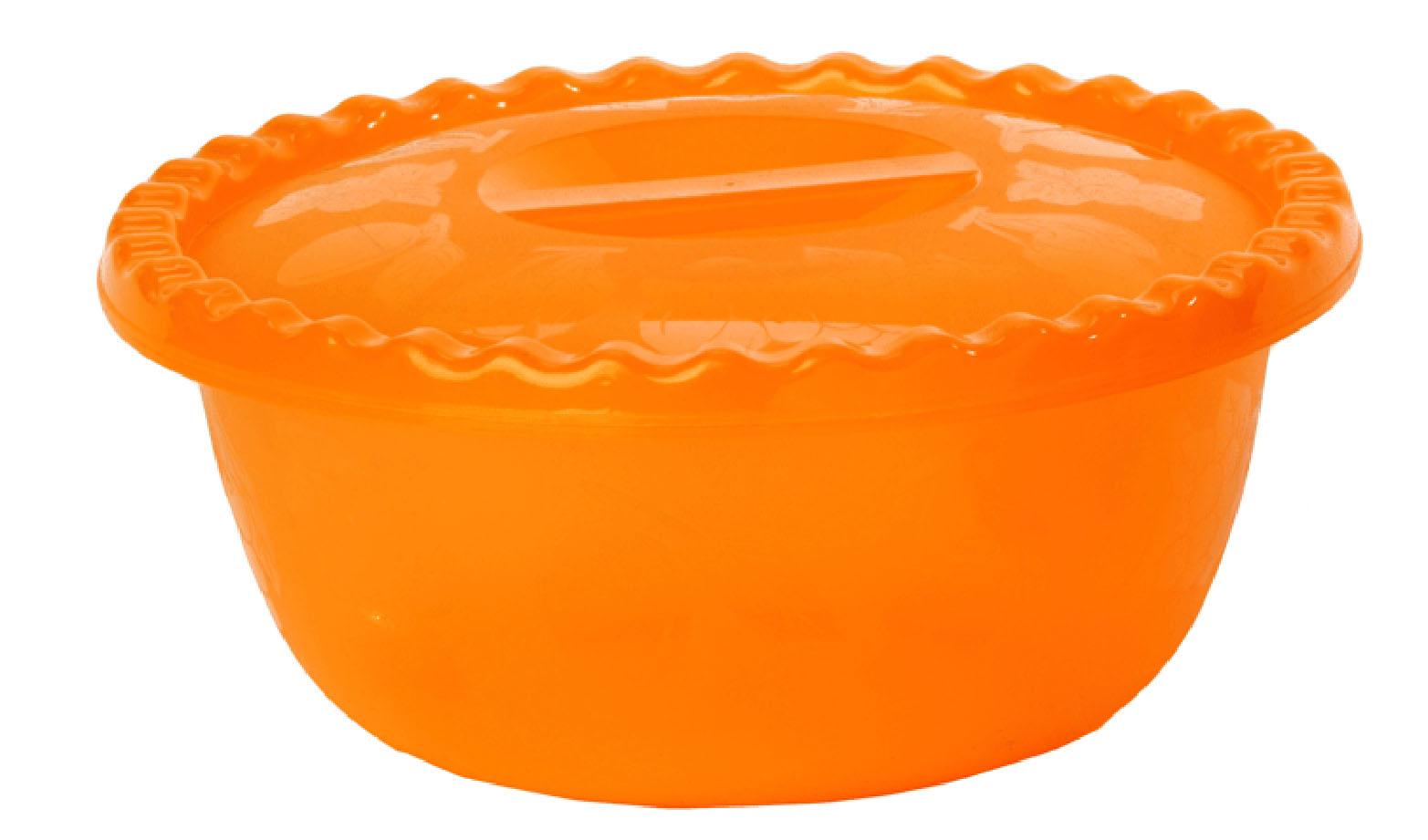 Миска 5л круглая с крышкой, ОранжевыйМ 1317Миска 5л круглая с крышкой, Оранжевый