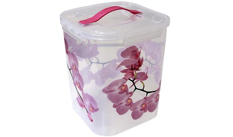 Контейнер для хранения Idea Орхидея, 10 лМ 2829Контейнер Idea Орхидея выполнен из высококачественного полипропилена, предназначен для хранения различных вещей и мелких аксессуаров. Контейнер снабжен плотно закрывающейся крышкой с четырьмя фиксаторами. Изделие оснащено резиновой ручкой на крышке для удобной переноски. Объем контейнера: 10 л.