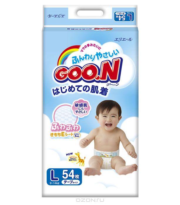 GOON Подгузники, 9-14 кг, 54 шт753134Японские подгузники Goo.N - это новая линейка подгузников с мягким впитывающим слоем с добавлением витамина Е, для еще большей защиты от опрелостей и покраснений. Гладкий как шелк и очень мягкий хлопок идеально подходит для чувствительной кожи Ваших малышей, позволяя коже ребенка дышать. Отделяемая жидкость скапливается в нижнем слое подгузников, при этом кожа не контактирует с мочой ребенка. Мягкая резинка на талии, сделанная из высококачественной лайкры, растягивается и сжимается, благодаря специальной складке, обеспечивая плотное прилегание к телу ребенка и не создавая излишнего давления и дискомфорта. К тому же подгузники Goo.N не протекают и не сползают даже в период активности ребенка. При наполнении линии-индикаторы изменяют цвет на синий, показывая, что произошло мочеиспускание, а значит пора менять подгузник.