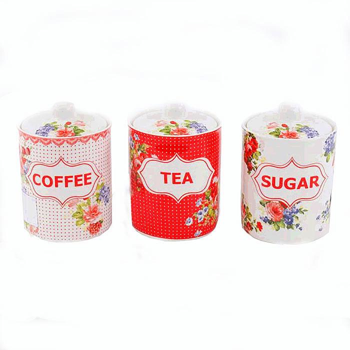 Набор из трех баночек для чая, кофе, сахара Алые розы. Фарфор. 2000-е годы64581Набор из трех баночек для чая, кофе и сахара. Фарфор, Греция, 2000-е годы. Размер баночек 10,5 х 16 см. Сохранность очень хорошая. Изделие не было в использовании. На дне стоит клеймо производителя.