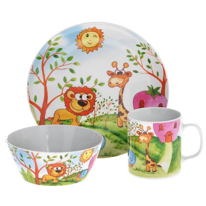 Набор детской посуды Legendale, 3 предмета. SHS4192SHS4192Набор детской посуды Legendale состоит из тарелки, супницы и чашки. Предметы набора изготовлены из высококачественного фарфора белого цвета. Изделия оформлены красочным изображением льва и жирафа. Яркий красочный набор привлечет внимание ребенка и сделает завтраки и обеды веселым занятием. Кроме того, набор очень функционален, в нем есть вся необходимая посуда. Можно использовать в микроволновой печи и мыть в посудомоечной машине.