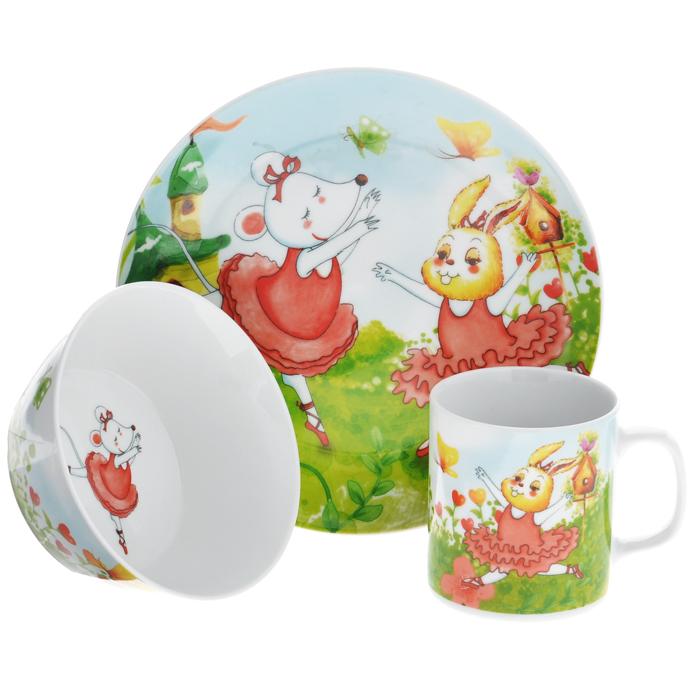 Набор детской посуды Legendale, 3 предмета. SHS4435SHS4435Набор детской посуды Legendale состоит из тарелки, супницы и чашки. Предметы набора изготовлены из высококачественного фарфора белого цвета. Изделия оформлены красочным изображением танцующих зверят. Яркий красочный набор привлечет внимание ребенка и сделает завтраки и обеды веселым занятием. Кроме того, набор очень функционален, в нем есть вся необходимая посуда. Можно использовать в микроволновой печи и мыть в посудомоечной машине.